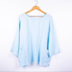 Pure J Jill blue linen pocket boxy tunic blouse